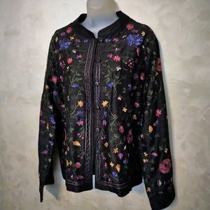 Chico's Embroidered Silk Top/Jacket Like New L